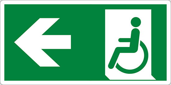 (uscita di emergenza disabili a sinistra – emergency exit for people unable to walk left hand)
