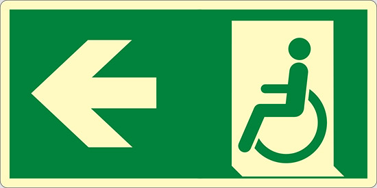 (uscita di emergenza disabili a sinistra – emergency exit for people unable to walk left hand) luminescente