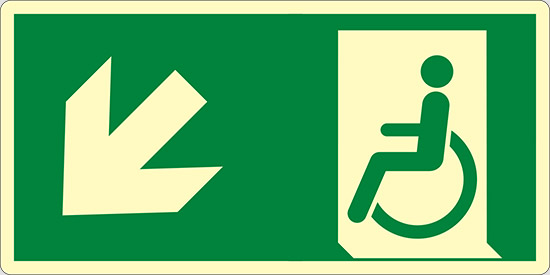 (uscita di emergenza disabili in basso a sinistra – emergency exit for people unable to walk down and left) luminescente