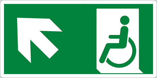 (uscita di emergenza disabili in alto a sinistra – emergency exit for people unable to walk up and left)