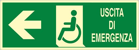USCITA DI EMERGENZA (disabili a sinistra) luminescente