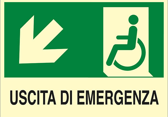 USCITA DI EMERGENZA (disabili in basso a sinistra) luminescente