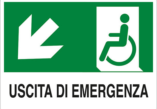 USCITA DI EMERGENZA (disabili in basso a sinistra)