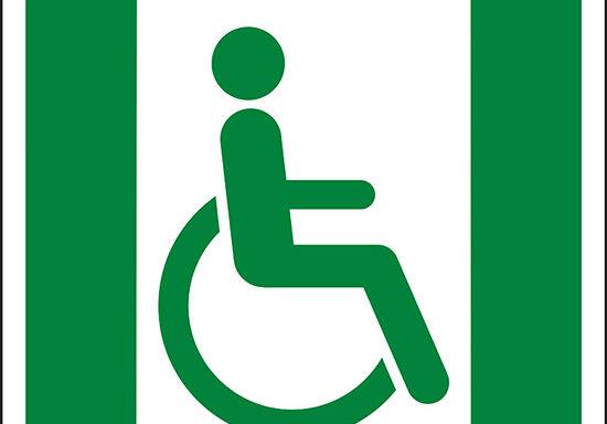 (uscita di emergenza per persone incapaci di camminare o con problemi di deambulazione a destra – Emergency exit for people unable to walk or with walking impairment right hand)