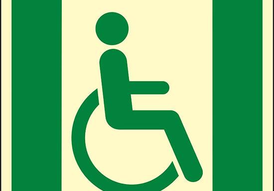 (uscita di emergenza per persone incapaci di camminare o con problemi di deambulazione a destra – Emergency exit for people unable to walk or with walking impairment right hand) luminescente