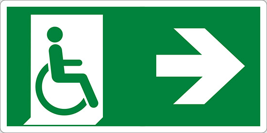 (uscita di emergenza disabili a destra – emergency exit for people unable to walk right hand)