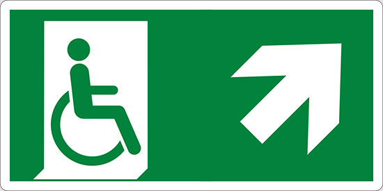 (uscita di emergenza disabili in alto a destra – emergency exit for people unable to walk up and right)