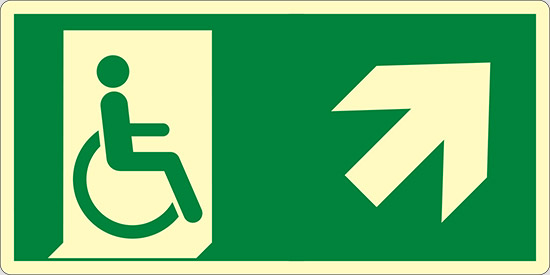 (uscita di emergenza disabili in alto a destra – emergency exit for people unable to walk up and right) luminescente