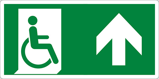 (uscita di emergenza disabili in alto – emergency exit for people unable to walk up hand)