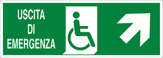 USCITA DI EMERGENZA (disabili in alto a destra)