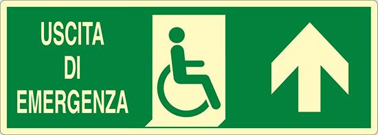 USCITA DI EMERGENZA (disabili in alto) luminescente