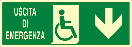 USCITA DI EMERGENZA (disabili in basso) luminescente