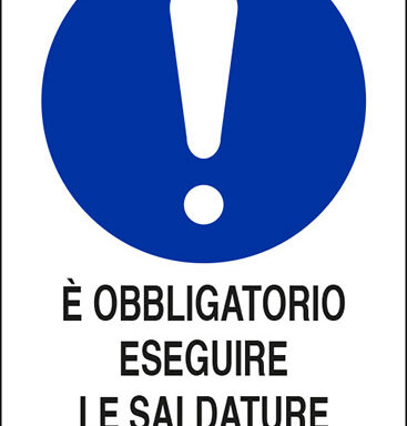 E' OBBLIGATORIO ESEGUIRE LE SALDATURE SOTTO ASPIRAZIONE