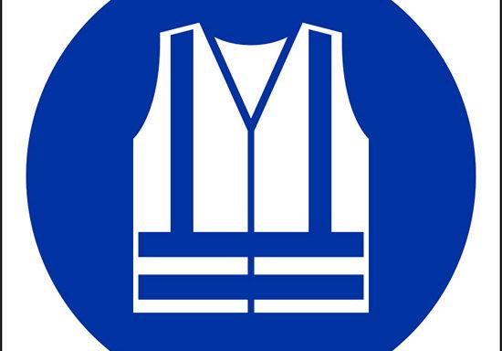 (e' obbligatorio indossare indumenti ad alta visibilita' – wear high-visibility clothing)