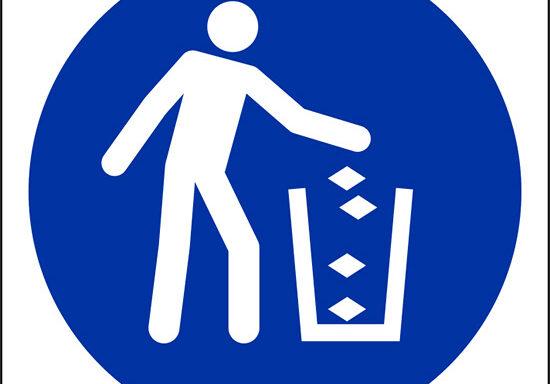 (usare cestino per rifiuti – use litter bin)