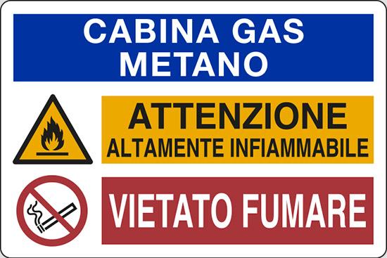 CABINA GAS METANO ATTENZIONE ALTAMENTE INFIAMMABILE VIETATO FUMARE
