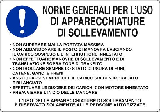 NORME GENERALI PER L' USO DI APPARECCHIATURE DI SOLLEVAMENTO