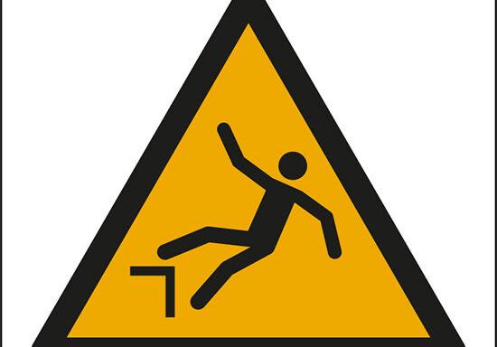 (pericolo di caduta con dislivello – warning: drop (fall))