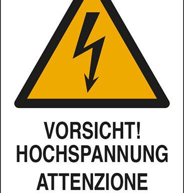 VORSICHT! HOCHSPANNUNG ATTENZIONE ALTA TENSIONE