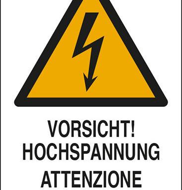 VORSICHT! HOCHSPANNUNG ATTENZIONE CORRENTE ELETTRICA
