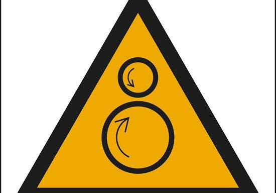 (pericolo rulli rotanti, pericolo di trascinamento – warning: counterrotating rollers)