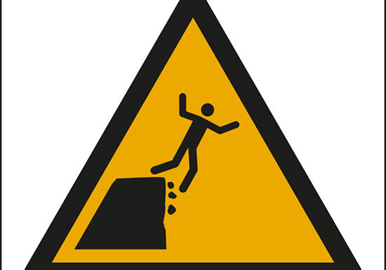 (attenzione; bordo della scogliera instabile – warning; unstable cliff edge)