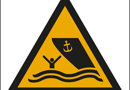 (attenzione; area navigabile – warning; boating area)